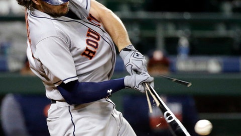 Houston Astros' Jake Marisnick shatters his bat on a fielder's choice against the Seattle Mariners in the ninth inning of a baseball game Wednesday, April 12, 2017, in Seattle. The Astros won 10-5. (AP Photo/Elaine Thompson)