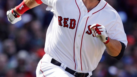 Boston Red Sox's Mitch Moreland rounds first base on a double during the second inning of a baseball game against the Pittsburgh Pirates at Fenway Park in Boston, Thursday, April 13, 2017. Moreland has doubled in seven straight games. (AP Photo/Charles Krupa)