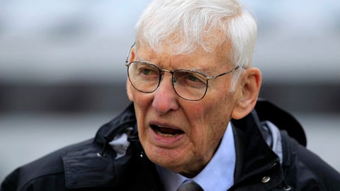 FILE - In this Oct. 7, 2012, file photo Dan Rooney watches warm ups before an NFL football game between the Pittsburgh Steelers and Philadelphia Eagles in Pittsburgh. The Steelers announced Mr. Rooney died Thursday, Apr. 13, 2017. He was 84. (AP Photo/Gene J. Puskar, File)