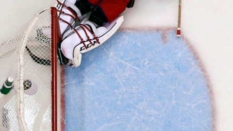 Columbus Blue Jackets goalie Sergei Bobrovsky (72) lies on the ice after allowing a goal to Pittsburgh Penguins' Jake Guentzel during the second period in Game 2 of an NHL first-round hockey playoff series in Pittsburgh, Friday, April 14, 2017. (AP Photo/Gene J. Puskar)