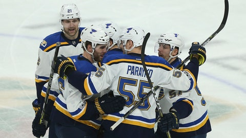 St. Louis Blues' Colton Parayko (55) and teammate Joel Edmundson (6) celebrate after Edmundson scored a goal against the Minnesota Wild during the second period of Game 2 of an NHL hockey first-round playoff series Friday, April 14, 2017, in St. Paul, Minn. (AP Photo/Stacy Bengs)
