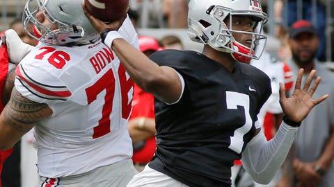 Ohio State quarterback Dwayne Haskins throws a pass during their NCAA college spring football game Saturday, April 15, 2017, in Columbus, Ohio. (AP Photo/Jay LaPrete)