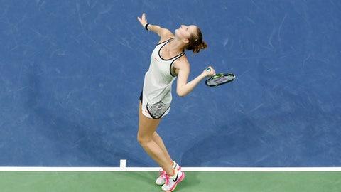 Marketa Vondrousova of Czech Republic serves during the final match against Anett Kontaveit of Estonia, at the WTA Ladies Open tennis tournament in Biel, Switzerland, Sunday, April 16, 2017. (Peter Klaunzer/Keystone via AP)