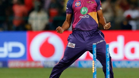 Rising Pune Supergiants bowler Shardul Thakur celebrates the dismissal of Royal Challengers Bangalore batsman Stuart Binny during their Indian Premier League (IPL) cricket match in Bangalore, India, Sunday, April 16, 2017. (AP Photo/Aijaz Rahi)