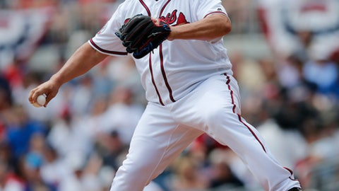 Atlanta Braves starting pitcher Bartolo Colon works in the second inning of a baseball game against the San Diego Padres Sunday, April 16, 2017, in Atlanta. (AP Photo/John Bazemore)