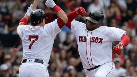 Boston Red Sox's Christian Vazquez (7) celebrates with teammate Pablo Sandoval, right, after Sandoval hit a home run in the fourth inning of a baseball game against the Tampa Bay Rays, Sunday, April 16, 2017, in Boston. (AP Photo/Steven Senne)