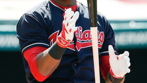 Cleveland Indians' Austin Jackson reacts after being struck out by Detroit Tigers relief pitcher Alex Wilson during the seventh inning in a baseball game, Sunday, April 16, 2017, in Cleveland. The Tigers won 4-1. (AP Photo/Ron Schwane)