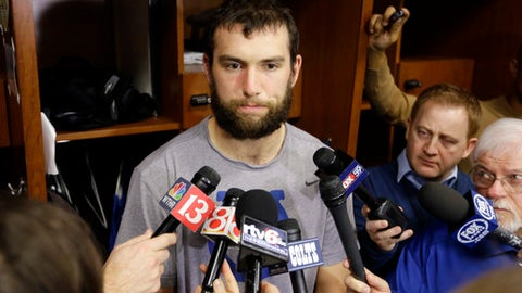 Indianapolis Colts quarterback Andrew Luck talks about the season as players clean out their lockers at the NFL team's practice facility in Indianapolis, Monday, Jan. 2, 2017. The Colts finished 8-8 and failed to make the playoffs. (AP Photo/Michael Conroy)