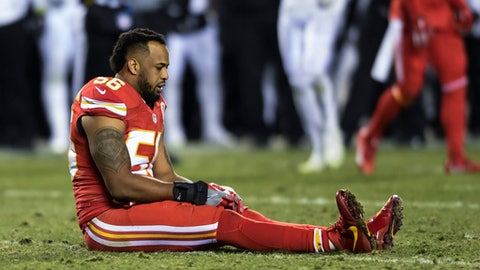 Kansas City Chiefs inside linebacker Derrick Johnson (56) suffered a season-ending injury during the first half of their NFL football game against the Oakland Raiders in Kansas City, Mo., Sunday, Oct. 23, 2016. (AP Photo/Reed Hoffmann)