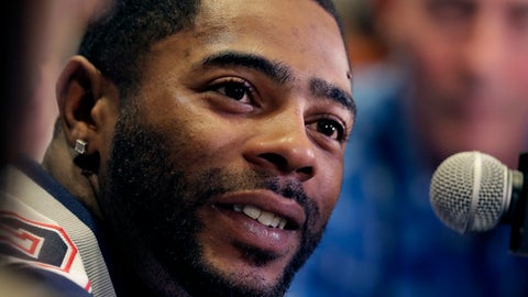 New England Patriots cornerback Malcolm Butler talks to reporters during a media availability for for the NFL Super Bowl 51 football game Thursday, Feb. 2, 2017, in Houston. The Patriots will face the Atlanta Falcons in the Super Bowl Sunday. (AP Photo/Charlie Riedel)