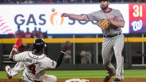 Washington Nationals second baseman Daniel Murphy throws to first after forcing out Atlanta Braves' Brandon Phillips (4) as he turns a double play on an Adonis Garcia ground ball during the fourth inning of a baseball game, Tuesday, April 18, 2017, in Atlanta. (AP Photo/John Amis)