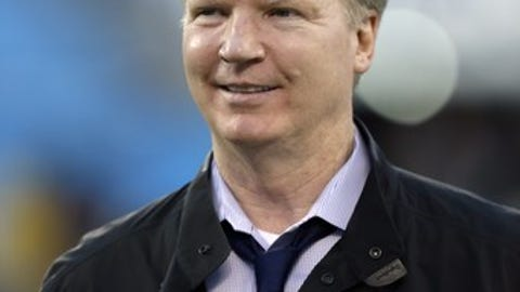 CBS television sportscaster Phil Simms before an NFL football game between the New Orleans Saints and Carolina Panthers  in Charlotte, N.C., Thursday, Oct. 30, 2014. The Saints won 28-10. (AP Photo/Bob Leverone)
