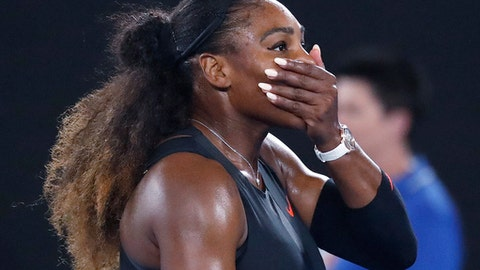 """FILE - In this Jan. 28, 2017, file photo, Serena Williams covers her face after defeating her sister, Venus, in the women's singles final at the Australian Open tennis championships in Melbourne, Australia. A spokeswoman for Williams says the tennis star is pregnant. Kelly Bush Novak wrote in an email to The Associated Press on Wednesday, April 19, 2017: """"I'm happy to confirm Serena is expecting a baby this Fall."""" Earlier in the day, Williams posted a photo of herself on the social media site Snapchat with the caption """"20 weeks."""" (AP Photo/Kin Cheung, File)"""