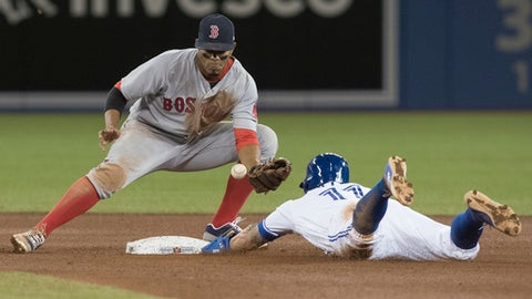 Toronto Blue Jays' Kevin Pillar steals second as Boston Red Sox's Xander Bogaerts bobbles the ball during the seventh inning of a baseball game Wednesday, April 19, 2017, in Toronto. (Fred Thornhill/The Canadian Press via AP)