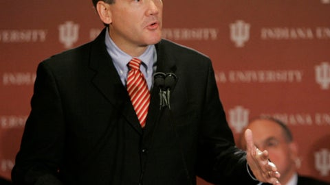 Indiana University athletic director Fred Glass responds to a question during a news conference in Bloomington, Ind., Wednesday, Oct. 28, 2008. IU spokesman Larry MacIntryre said the 49-year-old Glass will replace current athletic director Rick Greenspan, who is stepping down at the end of the year. (AP Photo/Darron Cummings)