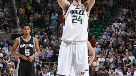 SALT LAKE CITY, UT - APRIL 12: Jeff Withey #24 of the Utah Jazz shoots a free throw against the San Antonio Spurs during the game on April 12, 2017 at vivint.SmartHome Arena in Salt Lake City, Utah. NOTE TO USER: User expressly acknowledges and agrees that, by downloading and or using this Photograph, User is consenting to the terms and conditions of the Getty Images License Agreement. Mandatory Copyright Notice: Copyright 2017 NBAE (Photo by Melissa Majchrzak/NBAE via Getty Images)