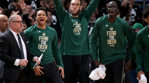 Milwaukee, WI - APRIL 20:  The Milwaukee Bucks celebrate during the game against the Toronto Raptors during Game Three of the Eastern Conference Quarterfinals of the 2017 NBA Playoffs on April 20, 2017 at the BMO Harris Bradley Center in Milwaukee, Wisconsin. NOTE TO USER: User expressly acknowledges and agrees that, by downloading and or using this Photograph, user is consenting to the terms and conditions of the Getty Images License Agreement. Mandatory Copyright Notice: Copyright 2017 NBAE (Photo by Gary Dineen/NBAE via Getty Images)