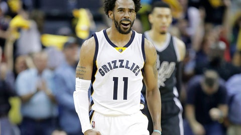 MEMPHIS, TN - APRIL 20:  Mike Conley #11 of the Memphis Grizzlies celebrates against the San Antonio Spurs in game three of the Western Conference Quarterfinals during the 2017 NBA Playoffs at FedExForum on April 20, 2017 in Memphis, Tennessee.   NOTE TO USER: User expressly acknowledges and agrees that, by downloading and or using this photograph, User is consenting to the terms and conditions of the Getty Images License Agreement  (Photo by Andy Lyons/Getty Images)