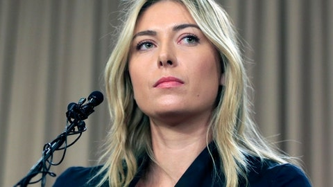 FILE - In this Monday March 7, 2016 file photo, tennis star Maria Sharapova speaks about her failed drug test at the Australia Open during a news conference in Los Angeles. Maria Sharapova will find out the week starting May 15, 2017, if she can compete at the French Open, the French Tennis Federation said. (AP Photo/Damian Dovarganes, File)