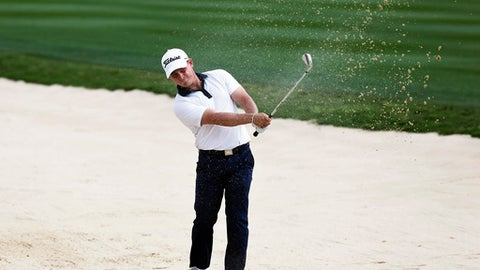 Bud Cauley hits out of a fairway bunker on the 17th hole  during the second round of the Texas Open golf tournament, Friday, April 21, 2017, in San Antonio, Texas. (Tom Reel/The San Antonio Express-News via AP)