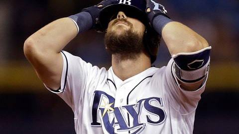 Tampa Bay Rays' Steven Souza Jr. reacts after flying out to right field during the eighth inning of a baseball game against the Houston Astros, Friday, April 21, 2017, in St. Petersburg, Fla. (AP Photo/Chris O'Meara)