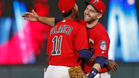 Minnesota Twins shortstop Jorge Polanco, left, and second baseman Brian Dozier celebrate after the Twins defeated the Detroit Tigers 6-3 in a baseball game Friday, April 21, 2017, in Minneapolis. (AP Photo/Jim Mone)