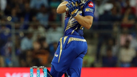 Mumbai Indians cricketer Jos Buttler bats during the Indian Premier League (IPL) cricket match against Delhi Daredevils in Mumbai, India, Saturday, April 22, 2017. (AP Photo/Rajanish Kakade)