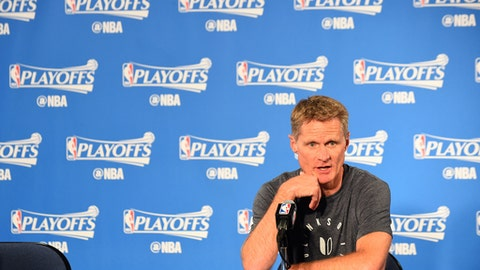 OAKLAND, CA - APRIL 19:  Steve Kerr of the Golden State Warriors talks to the media during a press conference after Game Two of the Western Conference Quarterfinals against the Portland Trail Blazers during the 2017 NBA Playoffs on April 19, 2017 at ORACLE Arena in Oakland, California. NOTE TO USER: User expressly acknowledges and agrees that, by downloading and or using this photograph, user is consenting to the terms and conditions of Getty Images License Agreement. Mandatory Copyright Notice: Copyright 2017 NBAE (Photo by Noah Graham/NBAE via Getty Images)