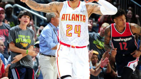 ATLANTA, GEORGIA - APRIL 22: Kent Bazemore #24 of the Atlanta Hawks reacts during the game against the Washington Wizards in Game Three of the Eastern Conference Quarterfinals during the 2017 NBA Playoffs on April 22, 2017 at Philips Center in Atlanta, Georgia.  NOTE TO USER: User expressly acknowledges and agrees that, by downloading and or using this Photograph, user is consenting to the terms and conditions of the Getty Images License Agreement.  Mandatory Copyright Notice: Copyright 2017 NBAE (Photo by Scott Cunningham/NBAE via Getty Images)