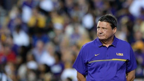 LSU head coach Ed Orgeron observes the first half of the NCAA college football team's spring game, Saturday, April 22, 2017, in Baton Rouge, La. (Hilary Scheinuk/The Advocate via AP)