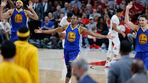 PORTLAND, OR - APRIL 22:  Andre Iguodala #9 of the Golden State Warriors celebrates a dunk against  the Portland Trail Blazers during Game Three of the Western Conference Quarterfinals of  the 2017 NBA Playoffs at Moda Center on April 22, 2017 in Portland, Oregon.  NOTE TO USER: User expressly acknowledges and agree com.apple.print.ticket.creator com.apple.jobticket com.apple.print.ticket.itemArray   com.appl