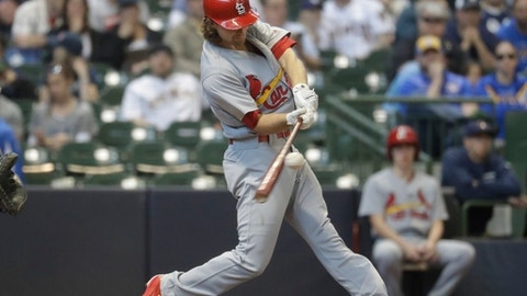 St. Louis Cardinals' Mike Leake hits a two-run scoring single during the fourth inning of a baseball game against the Milwaukee Brewers Sunday, April 23, 2017, in Milwaukee. (AP Photo/Morry Gash)
