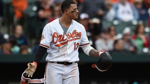 Baltimore Orioles Manny Machado looks to the mound after a pitch was thrown near his head by Boston Red Sox pitcher Matt Barnes during the eighth inning of a baseball game, Sunday, April 23, 2017, in Baltimore. (AP Photo/Gail Burton)
