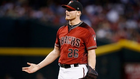 Arizona Diamondbacks' Shelby Miller argues a pitch during the fifth inning of a baseball game against the Los Angeles Dodgers, Sunday, April 23, 2017, in Phoenix. (AP Photo/Ross D. Franklin)