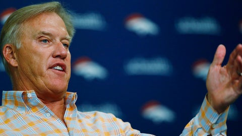 John Elway, general manager of the Denver Broncos, talks about the football team's plans in the upcoming NFL draft during a news conference Monday, April 24, 2017, in Englewood, Colo. (AP Photo/David Zalubowski)