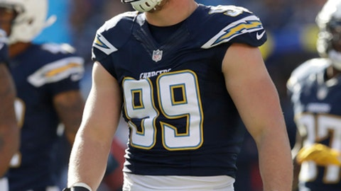 San Diego Chargers defensive end Joey Bosa (99) during an NFL football game against the Kansas City Chiefs Sunday, Jan. 1, 2017, in San Diego. (AP Photo/Rick Scuteri)