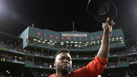 FILE- In this Oct. 10, 2016, file photo, Boston Red Sox designated hitter David Ortiz tips his cap after Game 3 of baseball's American League Division Series against the Cleveland Indians in Boston. Ortiz is set to speak at the New England Institute of Technology's 76th commencement at the Dunkin Donuts Center in Providence on Sunday, April 30, 2017. (AP Photo/Charles Krupa, File)