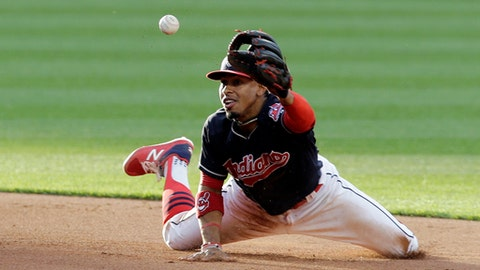Cleveland Indians' Francisco Lindor flips the ball to Cleveland Indians second baseman Jason Kipnis in the fifth inning of a baseball game, Tuesday, April 25, 2017, in Cleveland. Houston Astros' Yuli Gurriel was safe at second base. Evan Gattis was safe at first base. (AP Photo/Tony Dejak)