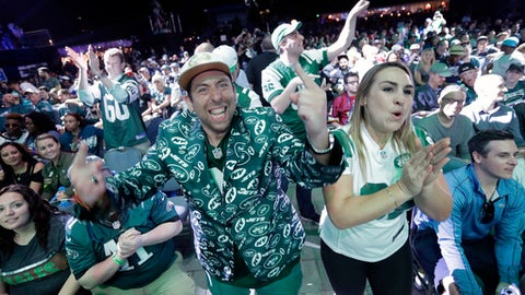 New York Jets fans reacts after the Jets selected LSU's Jamal Adams during the first round of the 2017 NFL football draft, Thursday, April 27, 2017, in Philadelphia. (AP Photo/Julio Cortez)