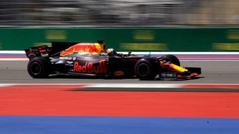 Red Bull driver Daniel Ricciardo of Australia steers his car during the third practice session ahead the Formula One Russian Grand Prix at the 'Sochi Autodrom' circuit, in Sochi, Russia, Saturday, April. 29, 2017. The Russian Formula One Grand Prix will be held on Sunday. (AP Photo/Pavel Golovkin)