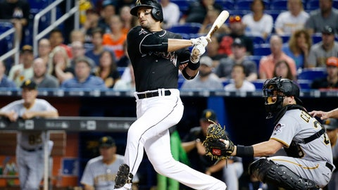 Miami Marlins' Martin Prado follows through with a double during the first inning of the team's baseball game against the Pittsburgh Pirates, Saturday, April 29, 2017, in Miami. (AP Photo/Wilfredo Lee)