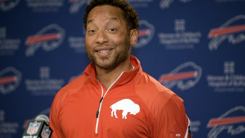 FILE - In this Monday, March 9, 2015, file photo, Buffalo Bills general manager Doug Whaley reacts to a question about the future of the team during a news conference at the Ralph Wilson Media Center in Orchard Park, N.Y. The Buffalo Bills fired Whaley in a move that came a day after the NFL draft, and further solidifies rookie head coach Sean McDermott's control over the team. Team owner Terry Pegula announced the move Sunday, April 30, 2017, saying he reached the decision after a lengthy review of the team. (AP Photo/Gary Wiepert, File)