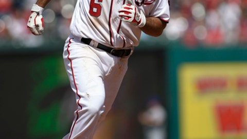 Washington Nationals' Anthony Rendon rounds the bases after hitting a three-run home run during the fourth inning of a baseball game against the New York Mets, Sunday, April 30, 2017, in Washington. (AP Photo/Nick Wass)