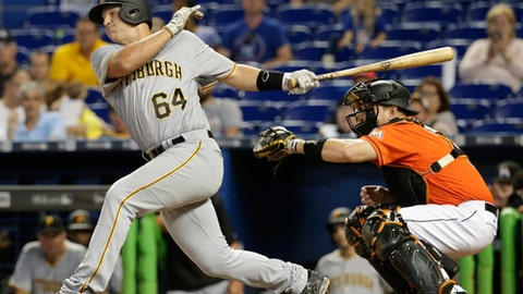 Pittsburgh Pirates' John Bormann (64) strikes out swinging in his major league debut during the ninth inning of a baseball game against the Miami Marlins, Sunday, April 30, 2017, in Miami. Marlins catcher A.J. Ellis, right, looks on. (AP Photo/Lynne Sladky)