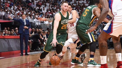 LOS ANGELES, CA - APRIL 30:  Gordon Hayward #20 of the Utah Jazz drives to the basket against the LA Clippers during Game Seven of the Western Conference Quarterfinals of the 2017 NBA Playoffs on April 30, 2017 at STAPLES Center in Los Angeles, California. NOTE TO USER: User expressly acknowledges and agrees that, by downloading and/or using this photograph, user is consenting to the terms and conditions of the Getty Images License Agreement. Mandatory Copyright Notice: Copyright 2017 NBAE (Photo by Andrew D. Bernstein/NBAE via Getty Images)