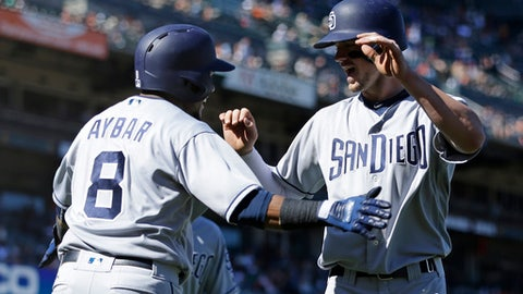 San Diego Padres' Wil Myers, right, celebrates with Erick Aybar (8) after hitting the go-ahead three-run home run off San Francisco Giants' George Kontos in the 12th inning of a baseball game, Sunday, April 30, 2017, in San Francisco. The Padres won 5-2. (AP Photo/Ben Margot)