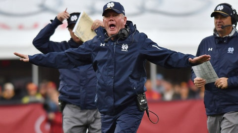 How is Brian Kelly supporting Kizer with this message?