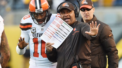 Hue Jackson will likely lose his job if he doesn't figure out the QB situation quickly