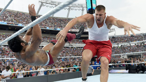 Fox Sports: The other big story from the Battle Royal was Rob Gronkowski laying out Jinder Mahal. If you put yourself in Triple H's shoes for a second, how would you evaluate Gronk's potential as a WWE star?
