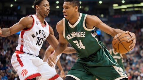 Raptors over Bucks; Wizards over Hawks